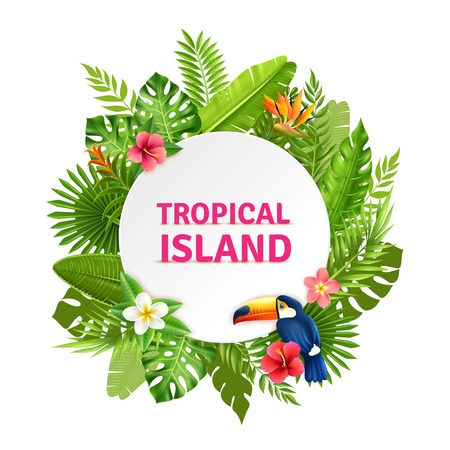 Tropical island decorative circular frame design with toucan bird in succulent rainforest plants flowers colorful vector illustration Vectores