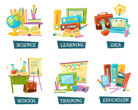 educational materials: Modern and traditional school training educational materials supplies for classrooms 6 flat compositions set abstract vector illustration