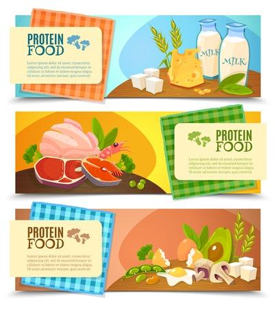 La dieta sana 3 banderas planas horizontales establecen con información sobre alimentos con alto contenido de proteínas abstracta ilustración vectorial