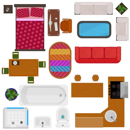 letti: Vista dall'alto di mobili per la casa icone decorativi con illustrazione vettoriale tavolo scrivania divano letto sedia da cucina vasca impostare lavello toilette isolato