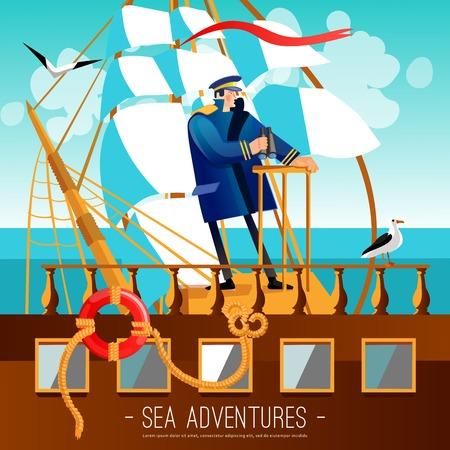 바다 모험 배경입니다. 해상 모험 벡터 일러스트 레이 션. 키 큰 선박 선장 디자인. 항해 만화 장식 기호입니다.