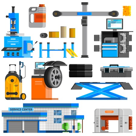 computer equipment: Auto service flat decorative icons set with equipment for repair computer diagnostics and technical inspection isolated vector illustration