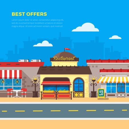 best background: Best offers bright cafe and restaurant side by side on city background flat vector illustration Illustration