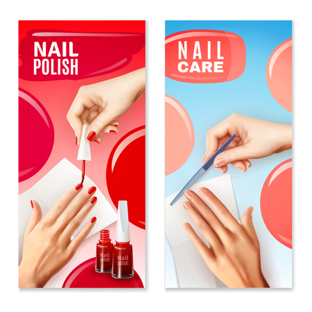 filing: Daily nail care filing and manicure polish with red varnish two vertical banners set realistic vector illustration
