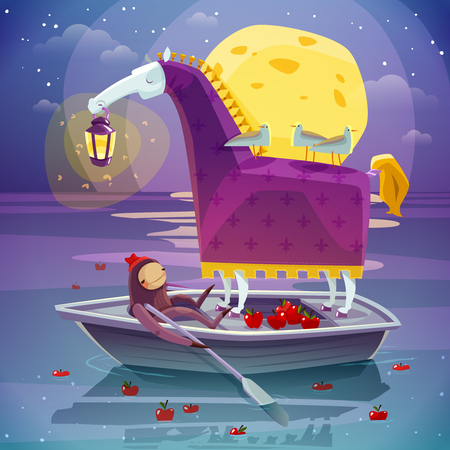 dream lake: Surreal night dream image of horse with girl in boat with big yellow moon background poster vector illustration