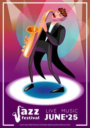 Jazz Festival Poster. Jazz Festival Vector Illustration.Jazz Festival Design. Jazz Festival Cartoon Decorative Symbols. Illustration