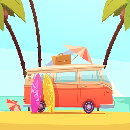 surfing waves: Surfing and bus with surfboards case and umbrella ready for trip flat retro cartoon vector illustration Illustration