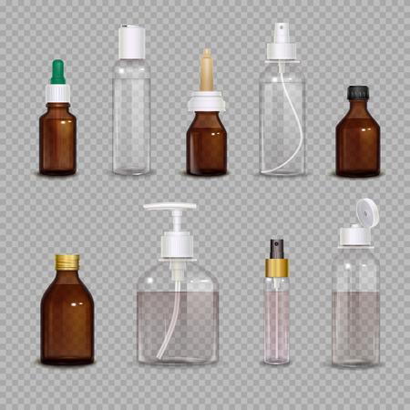 分離した透明な背景のベクトル図に医薬品や化粧の手段の異なるボトルの現実的なイメージ セット