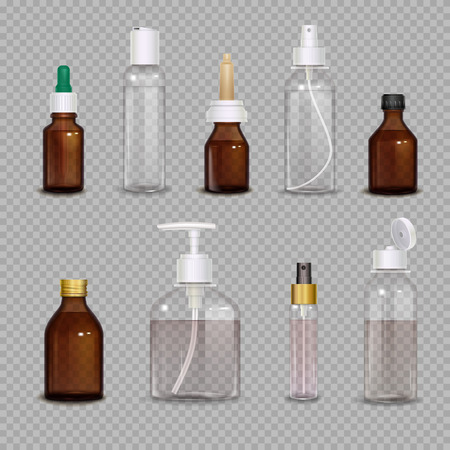 Realistic images set of different bottles for pharmaceutical or makeup means on transparent background isolated vector illustration Ilustração