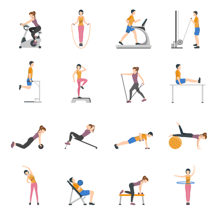 keeping: People training at gym and using different sports equipment flat icons set isolated vector illustration Illustration