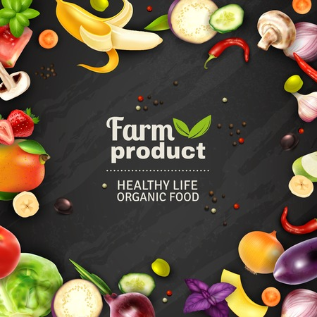 Farm product typographic poster with black chalkboard background and color decorative frame composed of fruits and vegetables signs advertising healthy organic food vector illustration