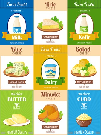 milk products: Dairy products poster set with presentation different kinds of cheese butter curd kefir and milk flat vector illustration