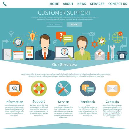 Contactez-nous page client décrivant les services de soutien en ligne et hors ligne vecteur plat illustration Vecteurs