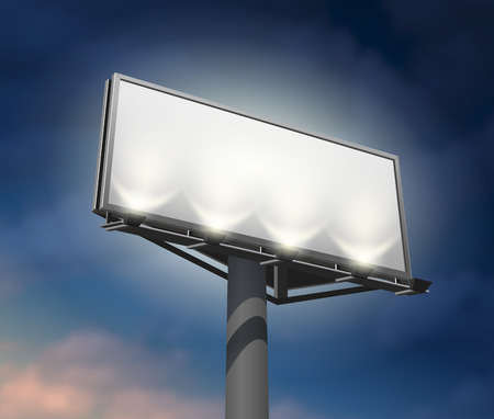 visible: Prominently placed billboard to promote your company lighted and clearly visible at night abstract vector illustration.