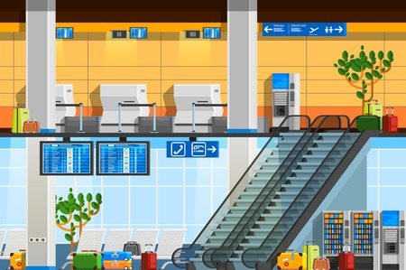 lounge room: Airport terminal flat composition with departure lounge touristic baggage schedule scoreboard escalator decorative elements vector illustration