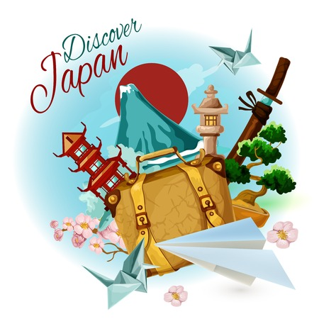cartoon suitcase: Discover japan poster with cartoon suitcase mountain and sakura vector illustration Illustration