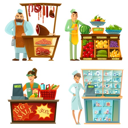 druggist: Traditional counter service shops sellers at work 4 cartoon compositions icons with butcher and grocery store vector illustration
