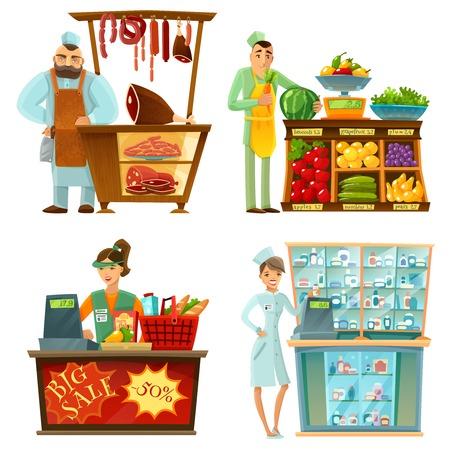 Traditionele teller supermarkten verkopers op het werk 4 cartoon composities pictogrammen met slager en supermarkt vector illustratie