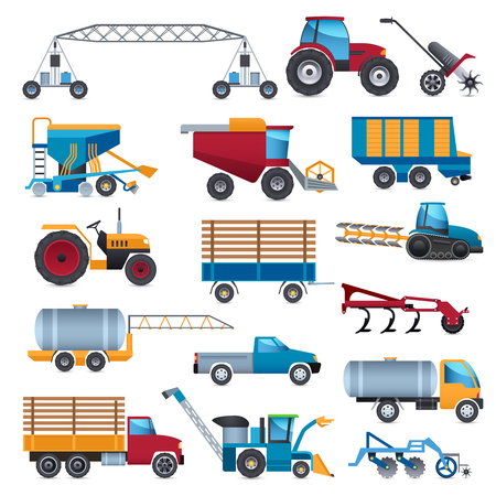 cultivator: Agricultural and farming machines icons set with tractor combine and plough flat isolated vector illustration Illustration