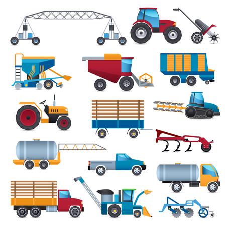 tillage: máquinas agrícolas y ganaderas iconos conjunto con el tractor y el arado combinan ilustración vectorial aislado plana
