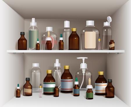 cough syrup: Medical Bottles Elements Collection. Medical Bottles Vector Illustration. Medical Bottles Decorative Set.  Medical Bottles On Shelves Design Set.Medical Bottles On Shelves Realistic Set.