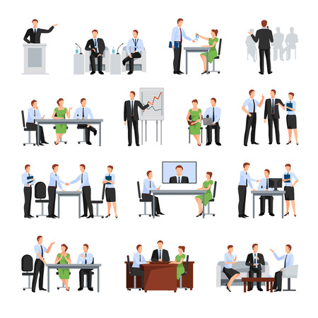 Affaires Conférence Elements Collection. Conférence d'affaires Vector Illustration. Conférence d'affaires Set décoratif. Affaires Conférence Concept Conférence Set.Business plat de Set Isolated. Banque d'images - 57720736