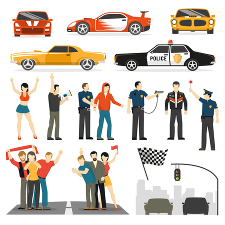traffic violation: Street racing competition flat elements collection with participants observers and police car abstract vector illustration