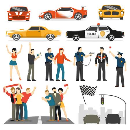 Street Racing Wettbewerb flache Elemente Sammlung mit Teilnehmern Beobachter und Polizeiwagen abstrakte Vektor-Illustration