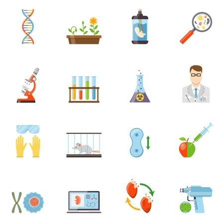 Biotechnologie et génétique plat icônes de couleur ensemble d'expériences de molécules d'ADN de l'embryon au microscope avec des animaux et des plantes illustration vectorielle Vecteurs