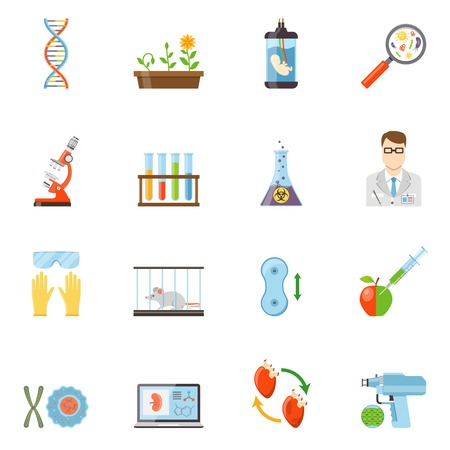 biotech: Biotechnology and genetics flat color icons set of microscope embryo DNA molecule  experiments with animals and plants vector illustration Illustration