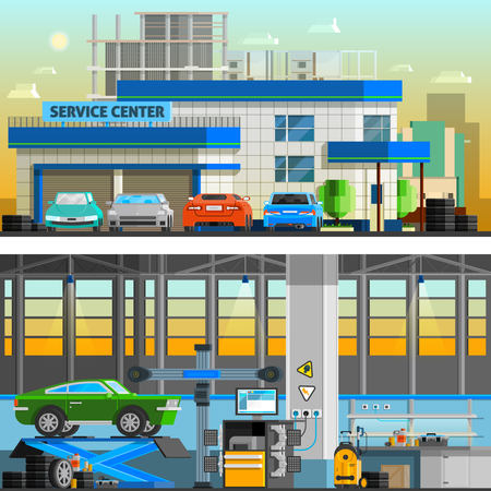 business car: Auto service flat horizontal banners with parking near service center building and  workshop indoor interior with equipment for diagnostics and repair automobiles vector illustration Illustration