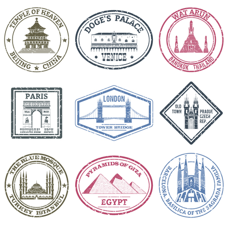 timbre voyage: Monuments et monde célèbres timbres mis isolé illustration vectorielle Illustration