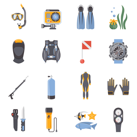 aqualung: Diving and snorkeling flat decorative icons collection with aqualung wetsuit mask scuba spear gun isolated vector illustration