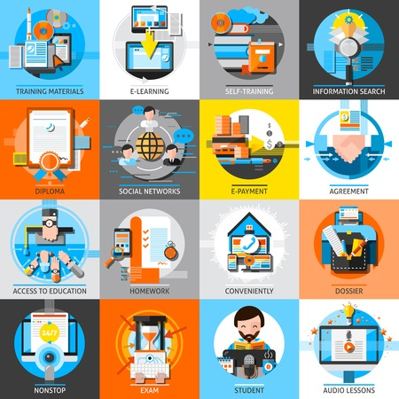 icons set: Online education flat color icons set of training materials audio lessons homework self education dossier design compositions isolated vector illustration