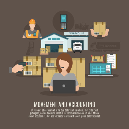 storeroom: Warehouse storeroom facilities accounting and goods moving and transportation concept flat icons combination banner abstract vector illustration