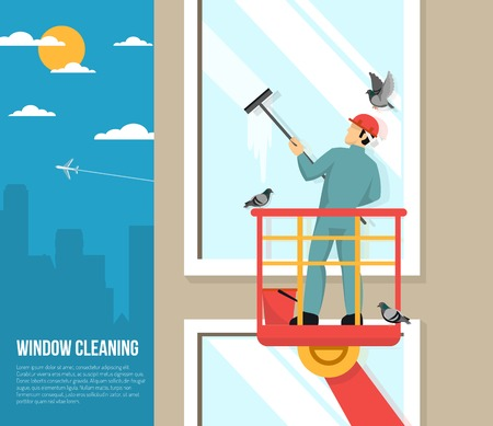 cleaning windows: Professional washer cleaning tall office building windows with rubber squeezer flat placard poster abstract vector illustration Illustration