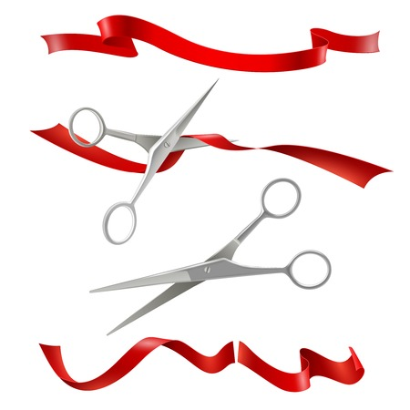Realistic metal scissors for grand opening inauguration event with red ribbon cutting public ceremony image vector illustration Çizim