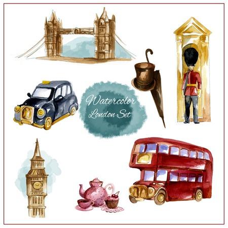 cabina telefonica: Londres acuarela conjunto con la ilustración vectorial aislados teléfono rojo torre bus stand puente