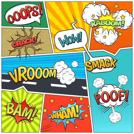 bam: Classic comics book page sample with speech exclamations wow oops bam bubbles patterns composition abstract vector illustration