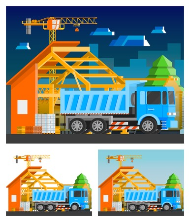 orthogonal: Construction orthogonal compositions set with house and truck flat isolated vector illustration