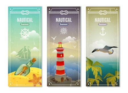 uninhabited: Retro sea nautical vertical banners with  lighthouse seagull message in empty bottle decorative elements collection vector illustration Illustration
