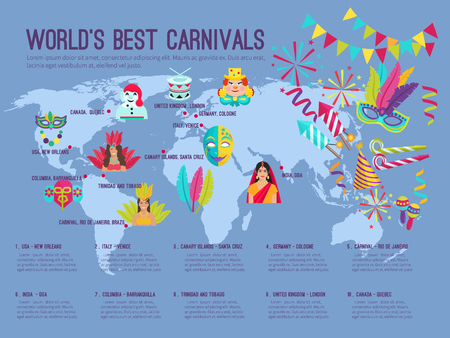 dram: Color flat infographic depicting on the map worlds best carnivals with icons vector illustration