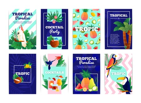 summer fruit: Tropical banners cards set with cocktail party paradise fruits vector illustration Illustration