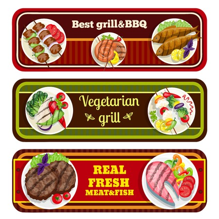 grill meat: Grill dishes banners barbecue best fresh meat fish vegetarian food vector illustration