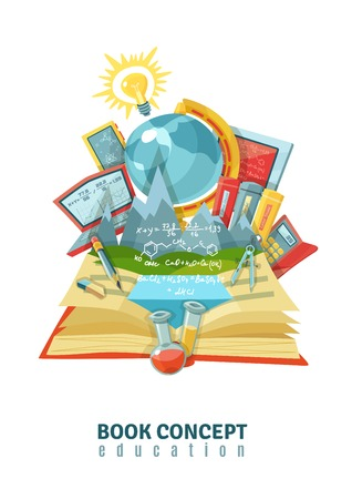 book concept: Traditional education concept with open book earth globe and modern electronic educational technology composition abstract vector illustration