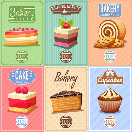 Traditional bakery confectionary 6 vintage mini posters composition banner with cupcakes caked and chocolate cookies isolated vector illustration