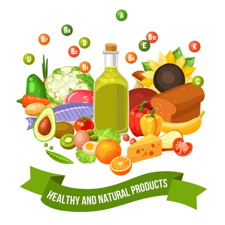 rich in vitamins: Flat poster of different healthy and natural organic food products with vitamin groups on top vector illustration