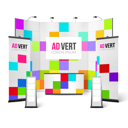 handouts: Exhibition Stand Bright Design. Exhibition Stand Color Template. Exhibition Stand Realistic Vector Illustration. Exhibition Marketing Stand Elements.