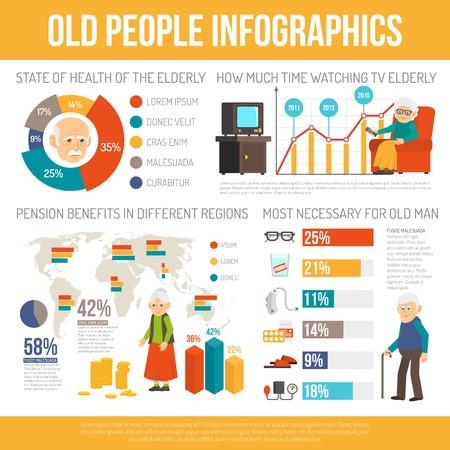 La vejez beneficios de asistencia personal y la esperanza de vida del cartel informe infografía con la ilustración vectorial resumen de diagramas plana