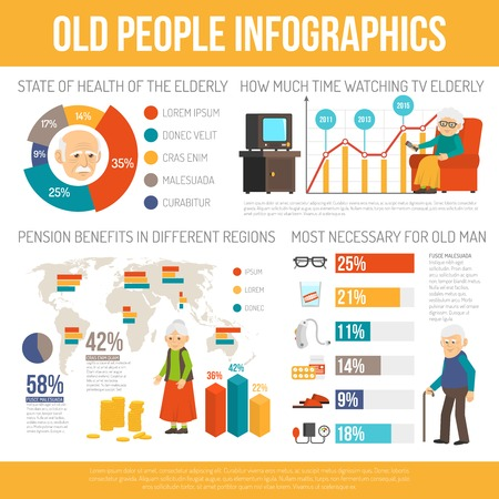 age old: Old age benefits personal assistance and life expectancy  infographic report poster with diagrams flat abstract vector illustration Illustration